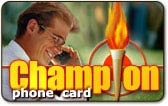 Champion phone card from Comfi